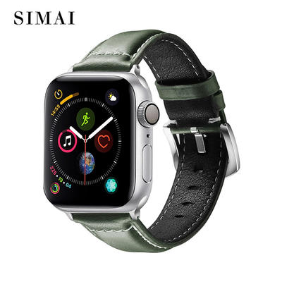 Apple Leather Grind Arenaceous Watch Band Drak Green Color