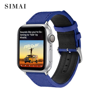 Apple Canvas Leather Band Aristocratic Blue