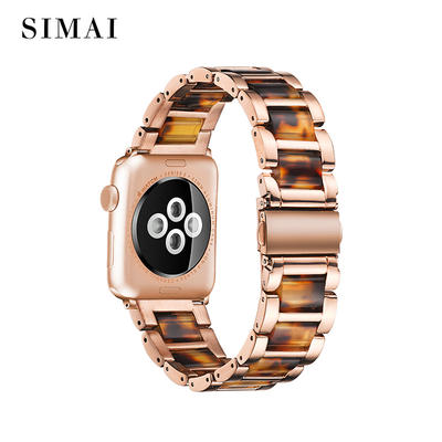 Apple Resin Steel Watch Band Rose Gold Lined Tortoise Stone