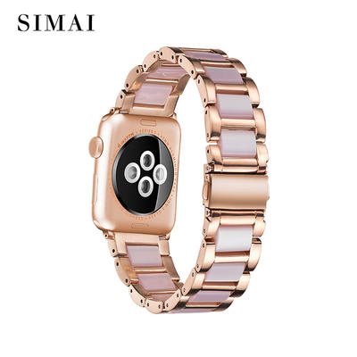 Apple Steel Lined Resin Watch Band Rose Gold Lined Pink