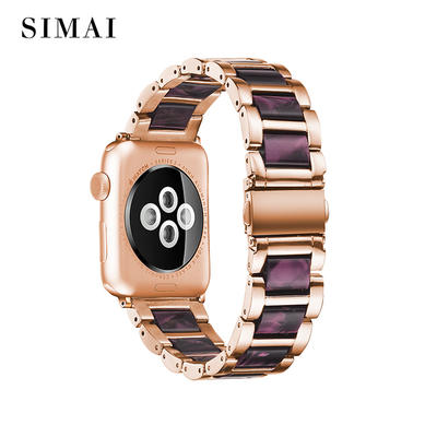 Apple Steel Lined Resin Watch Band Rose Gold Lined Light Purple