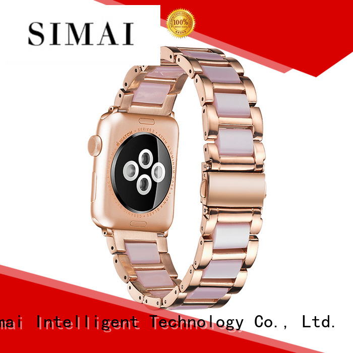 Simai purple steel lined resin watch band manufacturer company for iwath