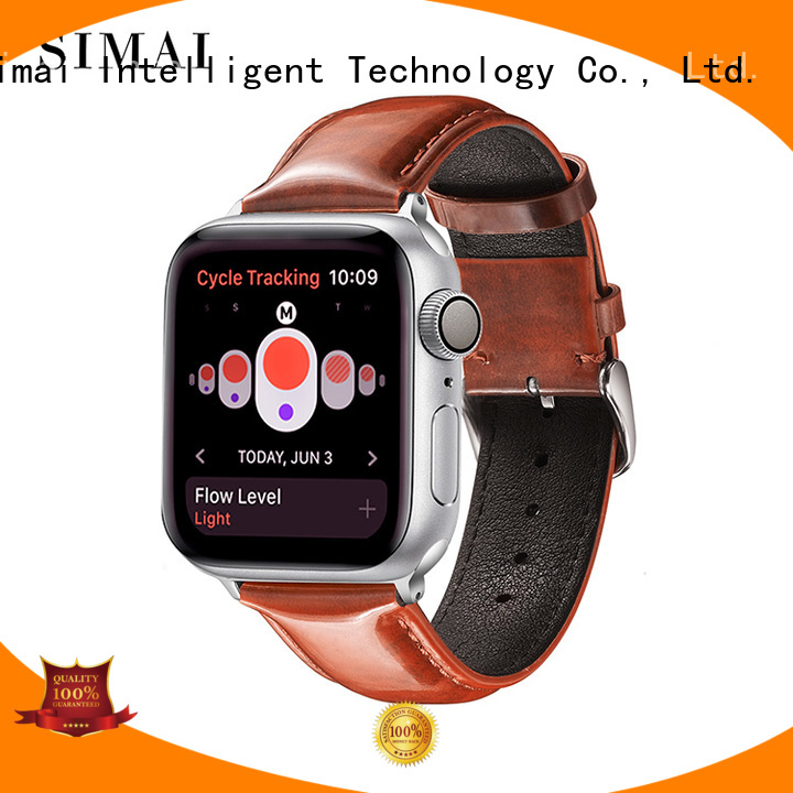 Simai retro bright leather watch band for business for Huawei