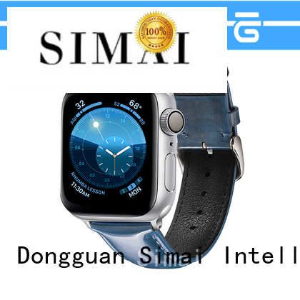 High-quality brown leather iwatch strap blue supply for Samsung