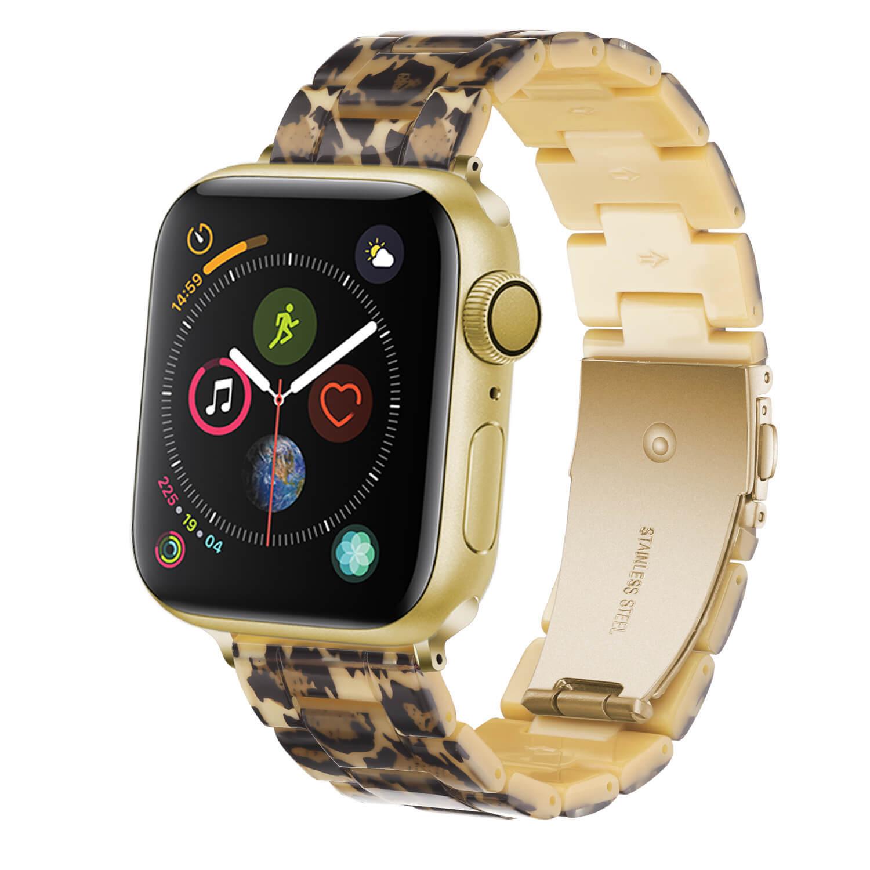 Apple Resin Watch Band Waterproof Watch Straps Leopard Print