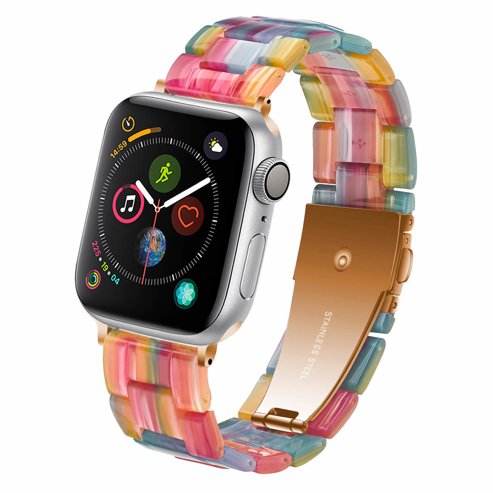 Wholesale Rainbow Rose Resin Watch Bands Strap Manufacter