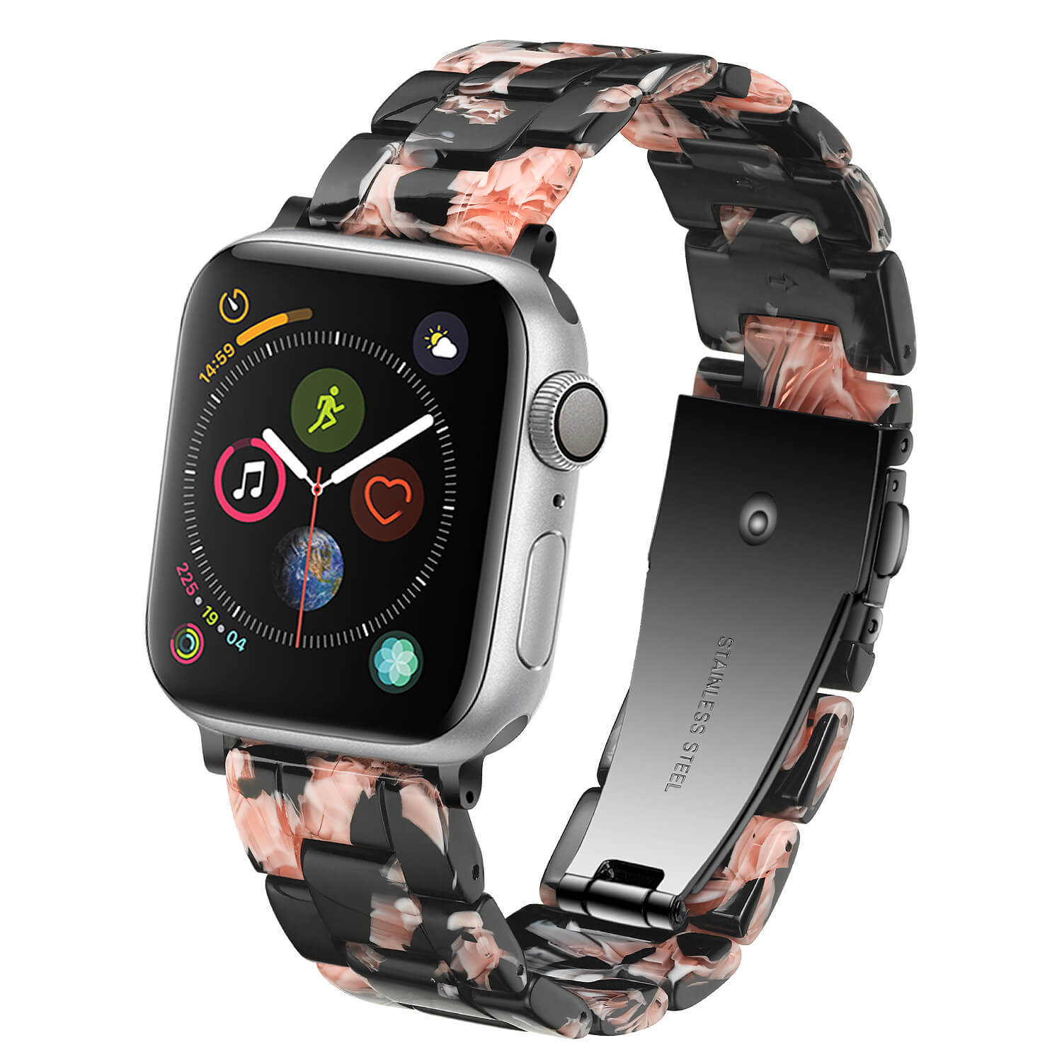 Rose in Black Resin Apple Watch Band Factory