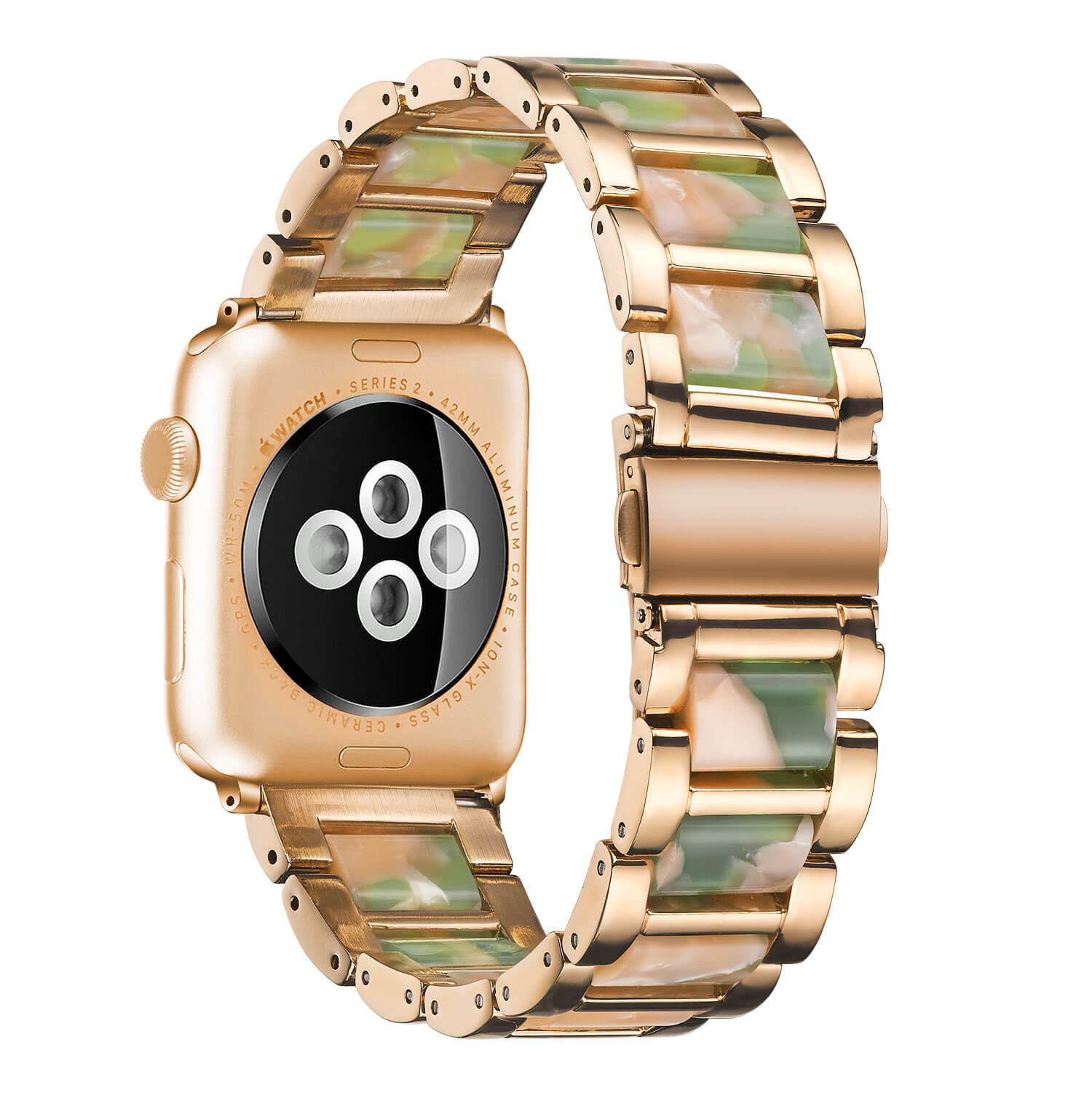 Apple Resin Steel Watch Band Rose Gold Lined Emerald Powder