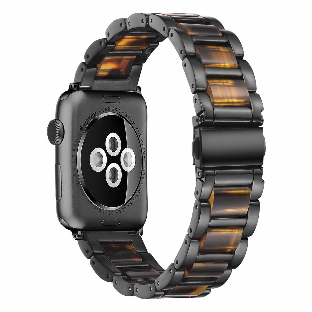 Black Steel Lined Resin Watch Band Apple Watch Straps Supplier
