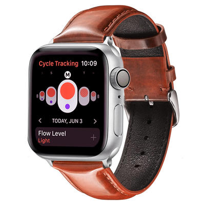 Custom Apple Bright Leather Watch Band Retro Orange Supplier