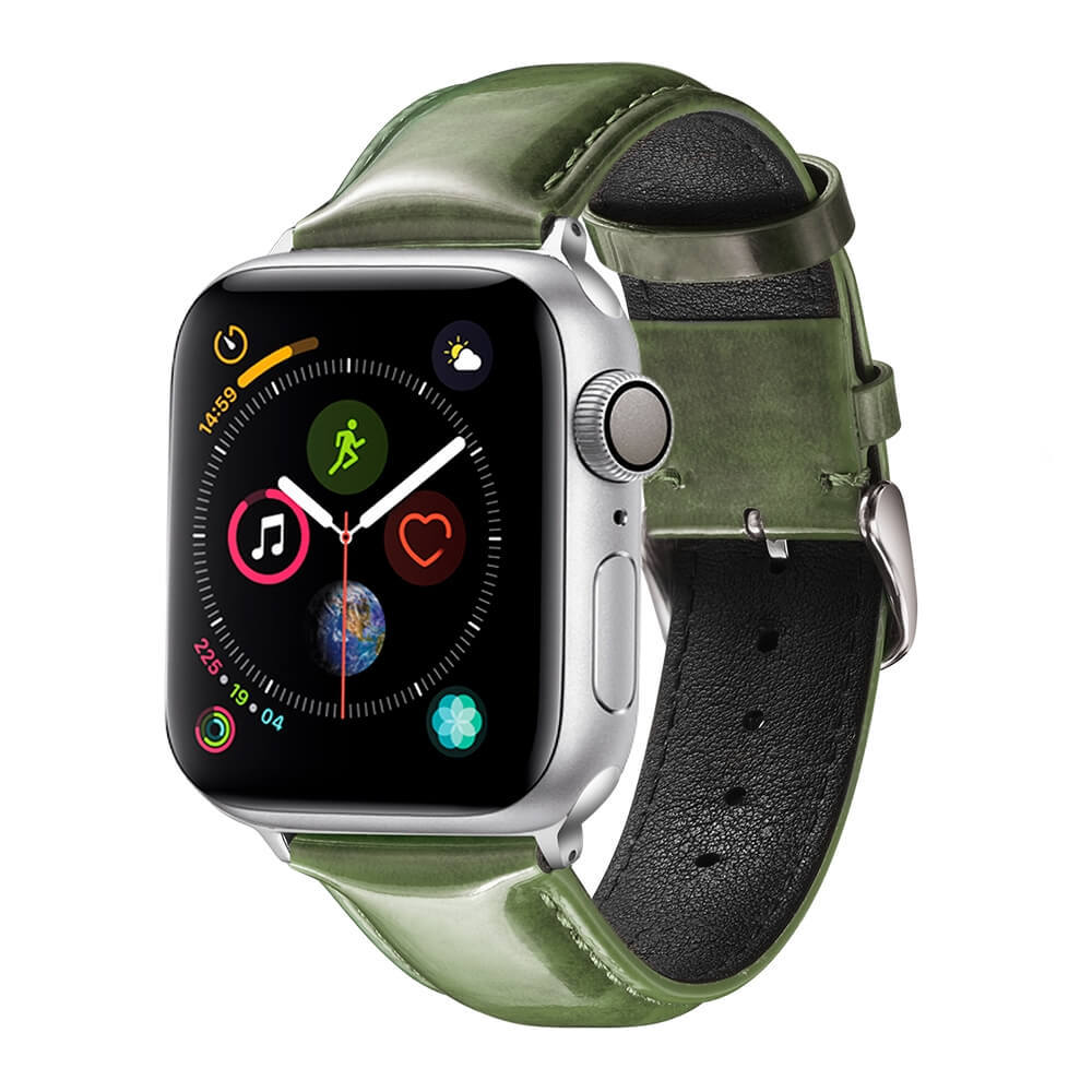 Apple Bright Leather Watch Band Army Green Manufacturer