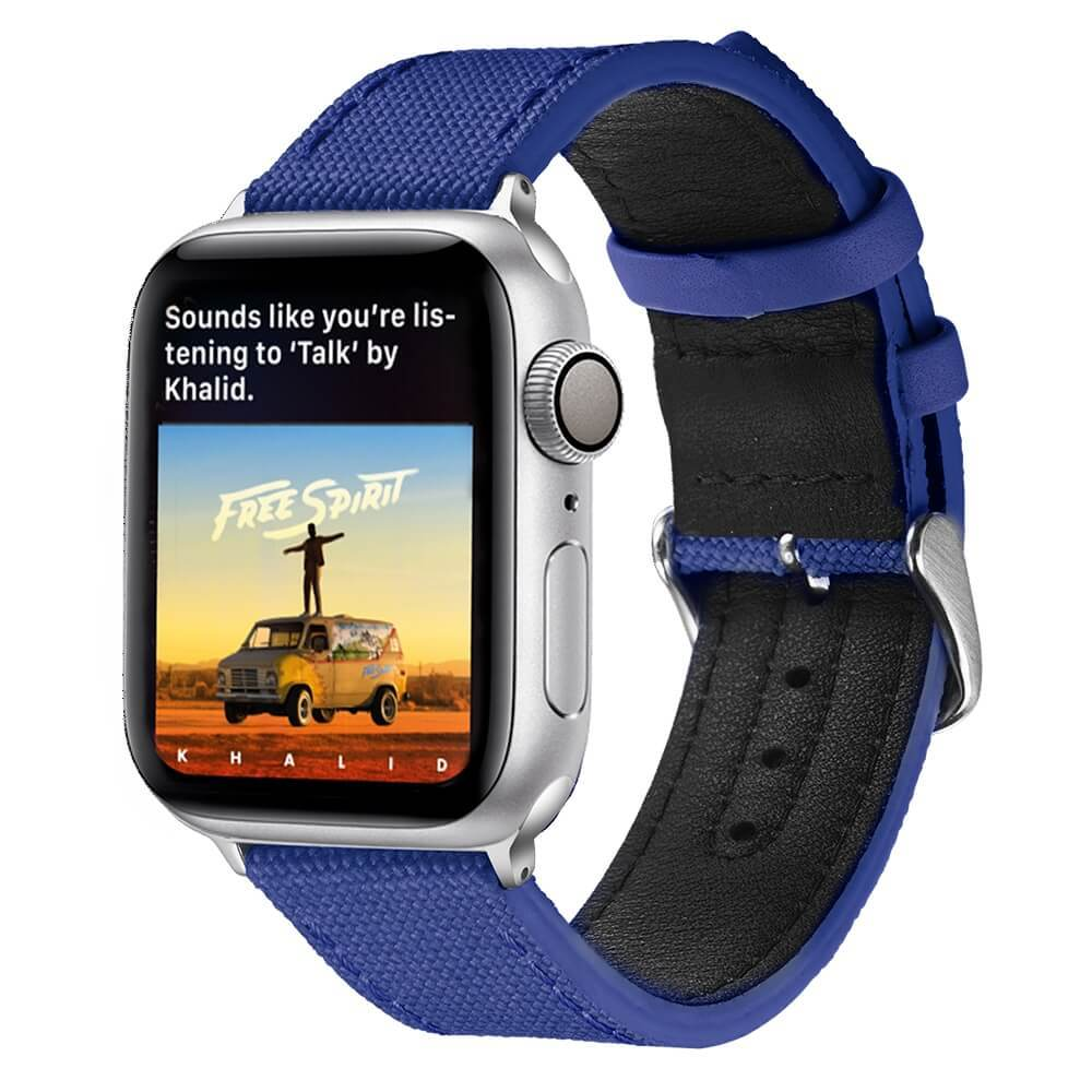 Apple Canvas and Leather Watch Strap Aristocratic Blue