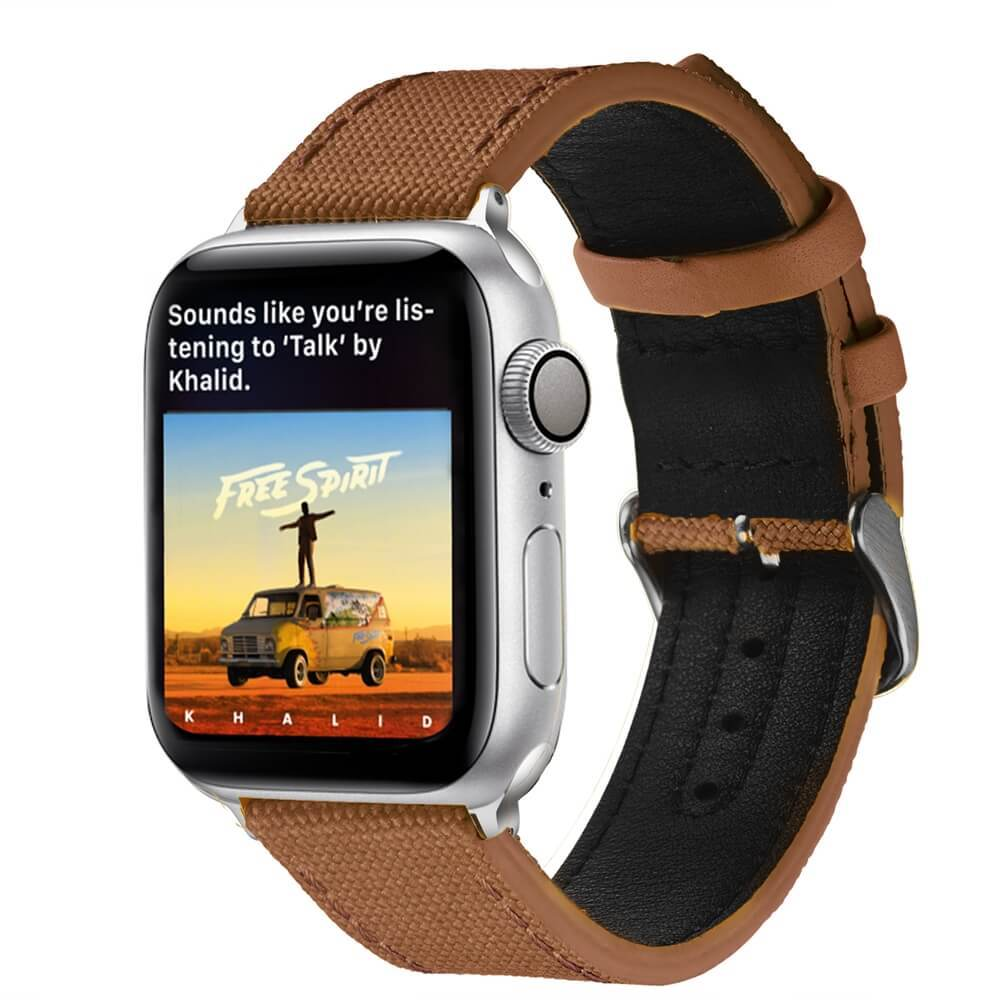 Canvas Leather Watch Strap Apple Watch Band Vintage Brown Supplier