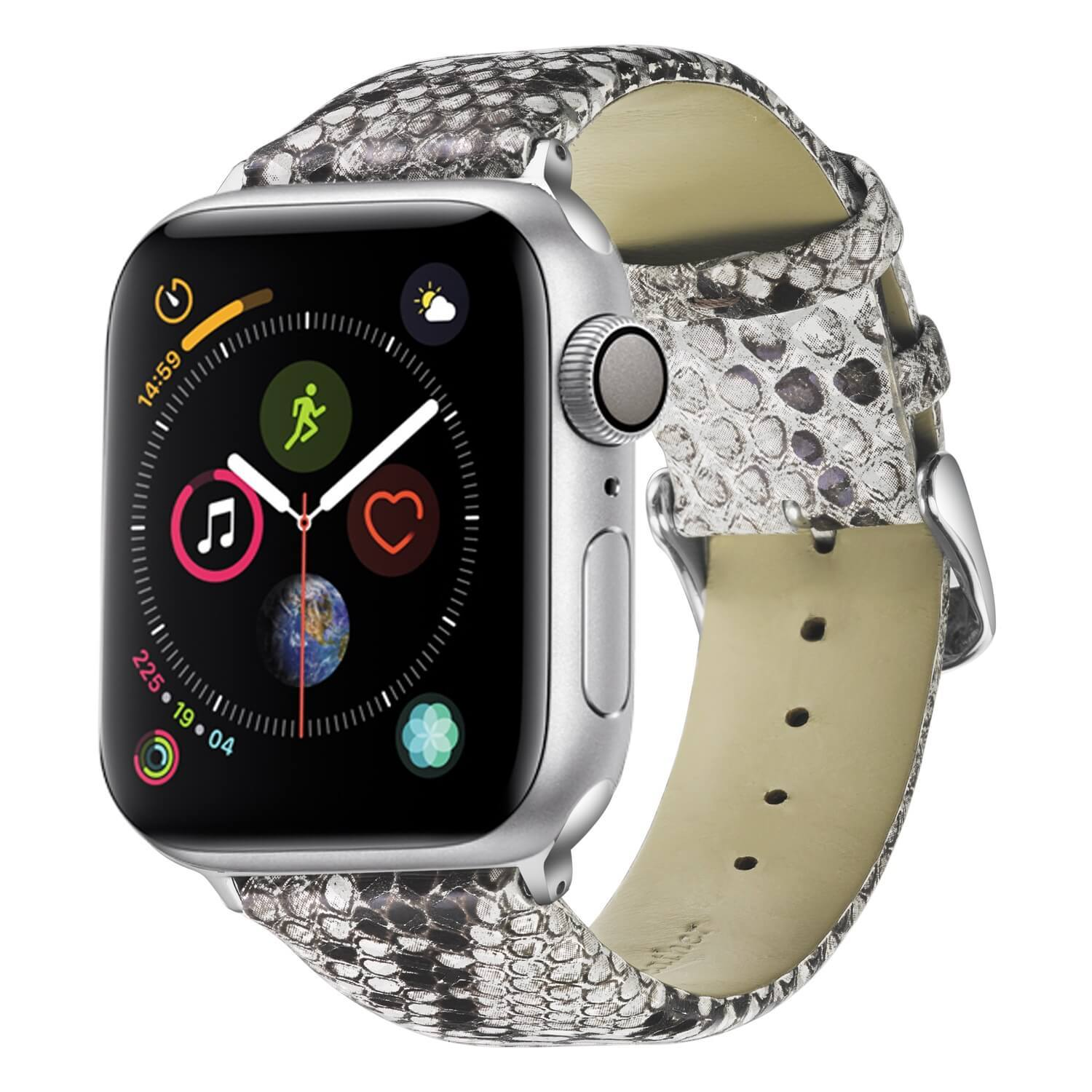 Snakeskin Watch Band Apple Leather Watch Straps Snakeskin Gray