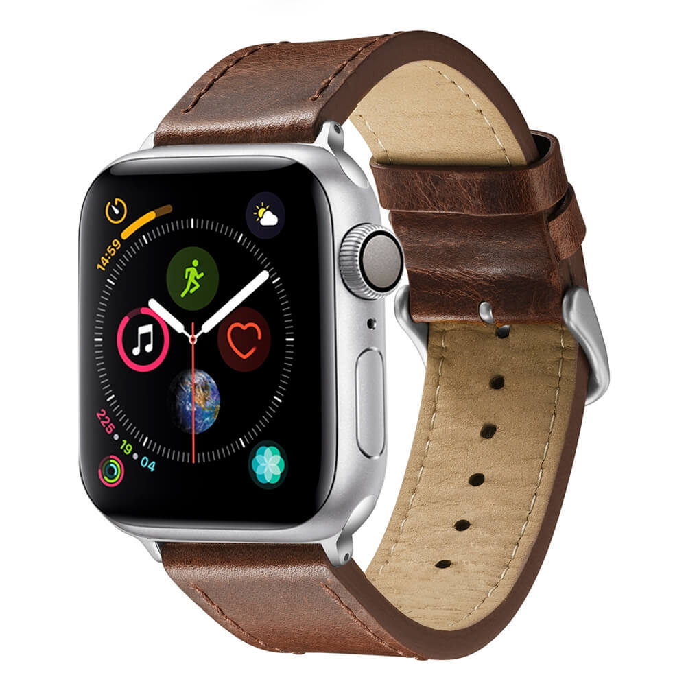 Brown Good Apple Watch Bands Tree Paste Leather Watch Band