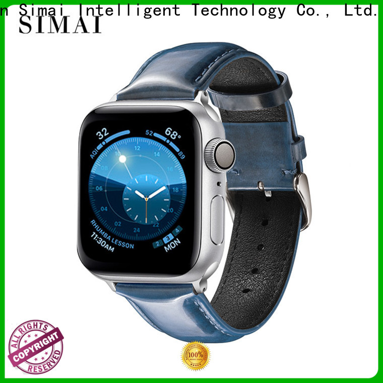 Wholesale watch genuine leather strap blue company for apple