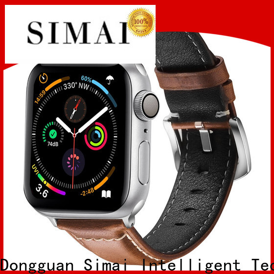 Simai drak light tan leather watch strap factory for Huawei