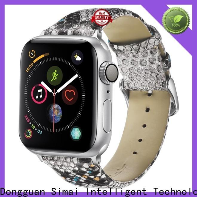Simai snake black leather apple watch band company for cacio