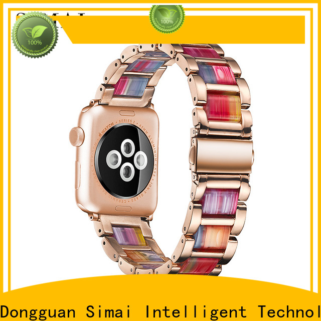 Simai pink steel lined resin watch band supply for iwath