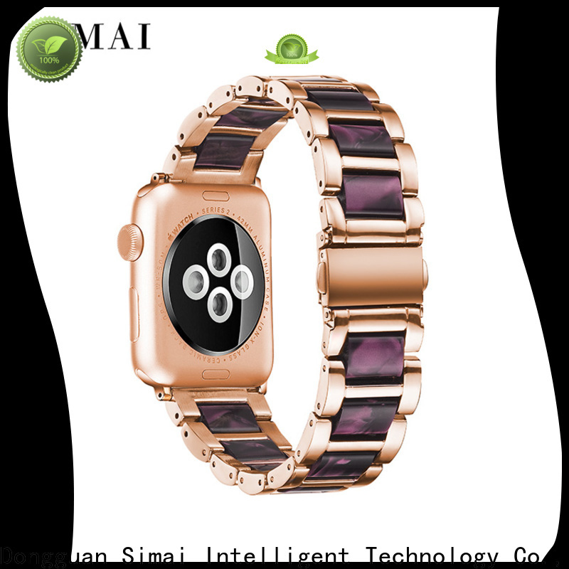 Simai Custom steel lined resin watch band supply for apple