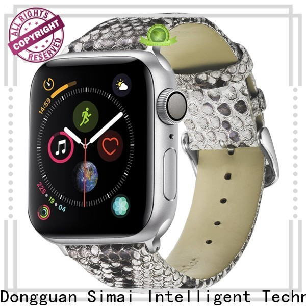 Simai leather ostrich watch strap suppliers for apple
