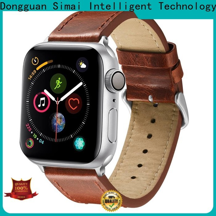 Simai straps black leather iwatch strap company for iwath