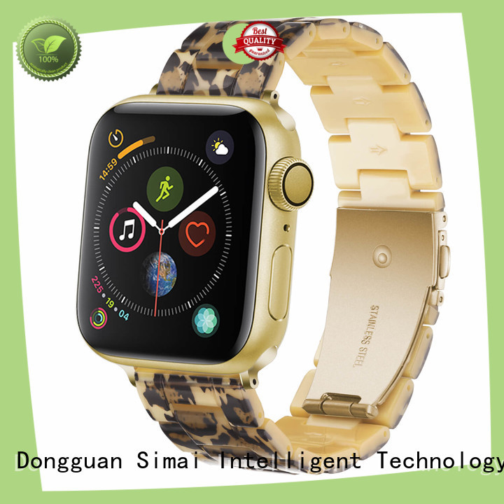 Simai Top apple watch black leather strap manufacturers for Samsung