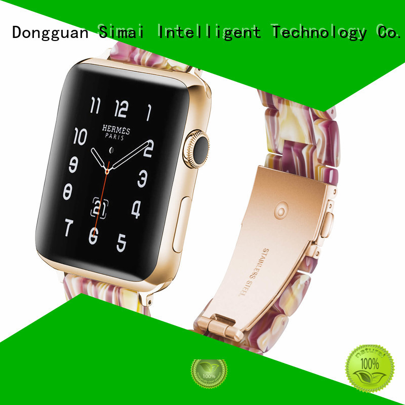 Simai Latest black leather apple watch band factory for apple